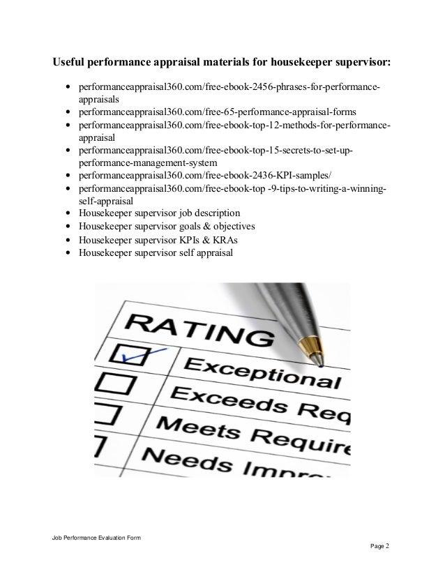 Housekeeper supervisor performance appraisal