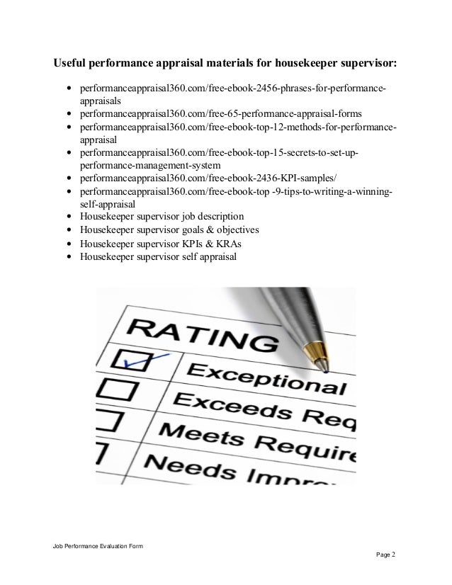 housekeeper supervisor performance appraisal job performance evaluation form page 1 2