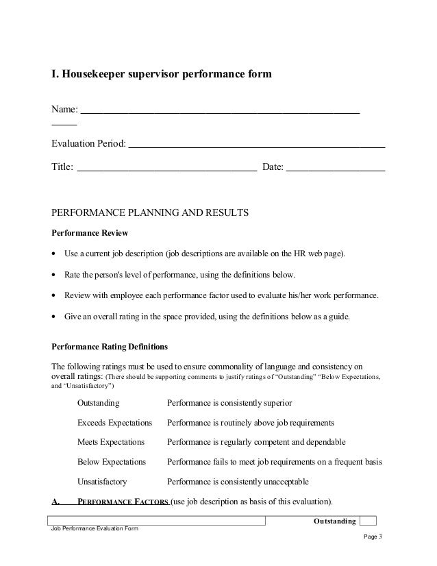 Housekeeper Supervisor Self Appraisal Job Performance Evaluation Form Page 2 3