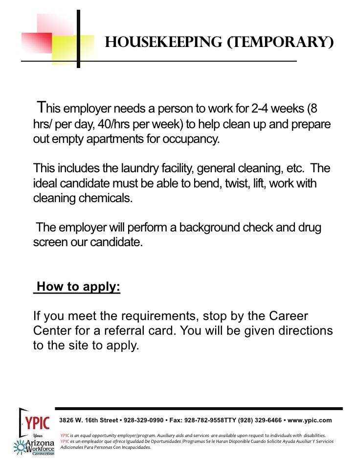 Housekeeping Job Description