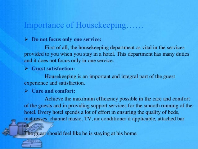 Housekeeping Importance And Function