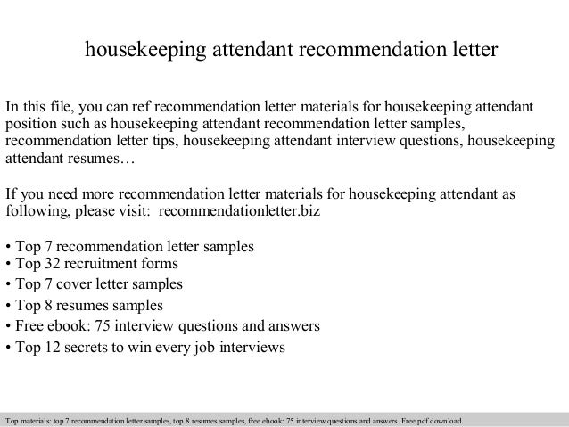 Housekeeping attendant recommendation letter