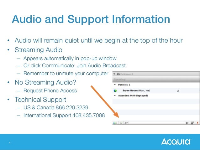1 Audio and Support Information! • Audio will remain quiet until we begin at the top of the hour • Streaming Audio – Ap...