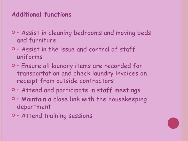 function of housekeeping department It is a function that is vital to the operation of the school district housekeeping services provides standardized housekeeping staff housekeeping services.