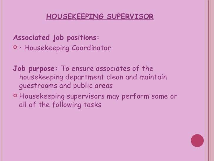 housekeeping supervisor job description pdf