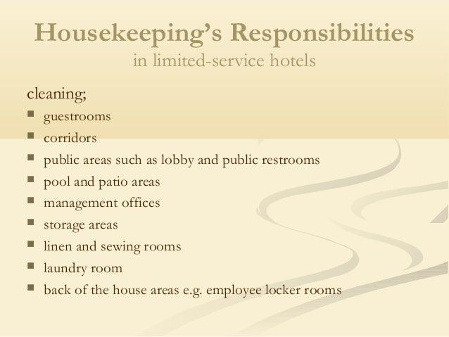 housekeepings responsibilities