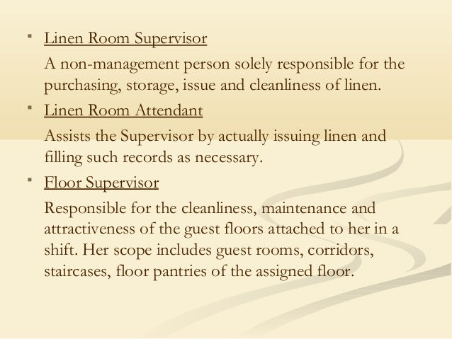 23 linen room supervisor definition of dining room for Dining room manager definition