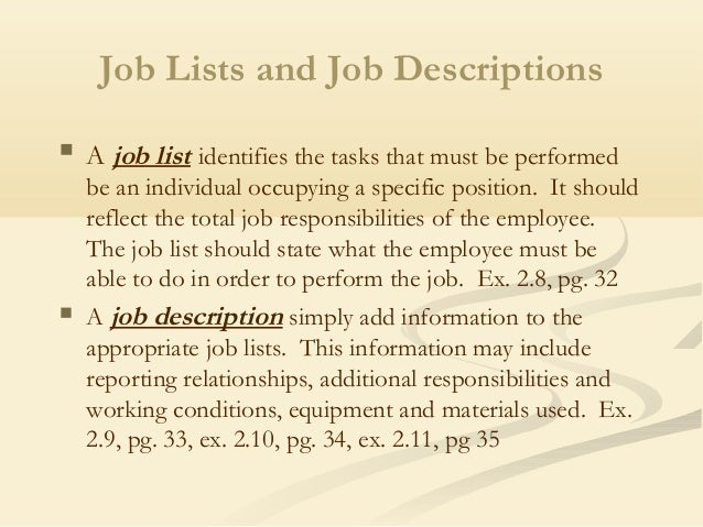 Superb Job Lists And Job Descriptions ...