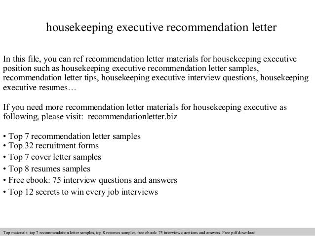Housekeeping Executive Recommendation Letter In This File, You Can Ref  Recommendation Letter Materials For Housekeeping ...
