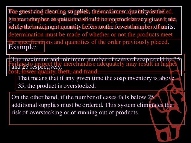 management of inventory and equipment