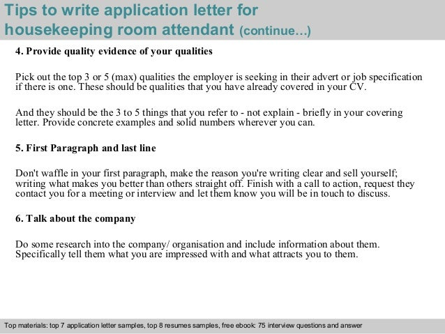 Exceptional ... 4. Tips To Write Application Letter For Housekeeping Room Attendant ...