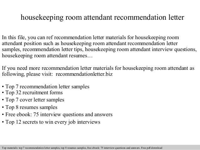 Room Attendant Cover Letter Samples