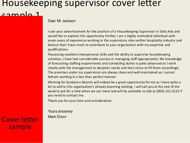 Lovely Housekeeping Supervisor Cover Letter ...