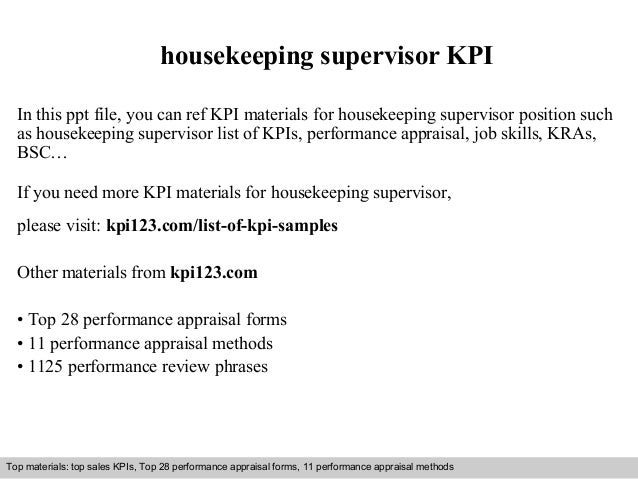 Housekeeping supervisor kpi