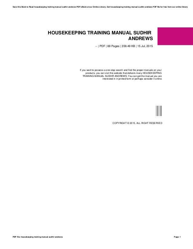 housekeeping training manual sudhir andrews browse manual guides u2022 rh trufflefries co Housekeeping Operations Manual Hotel Housekeeping Worksheets