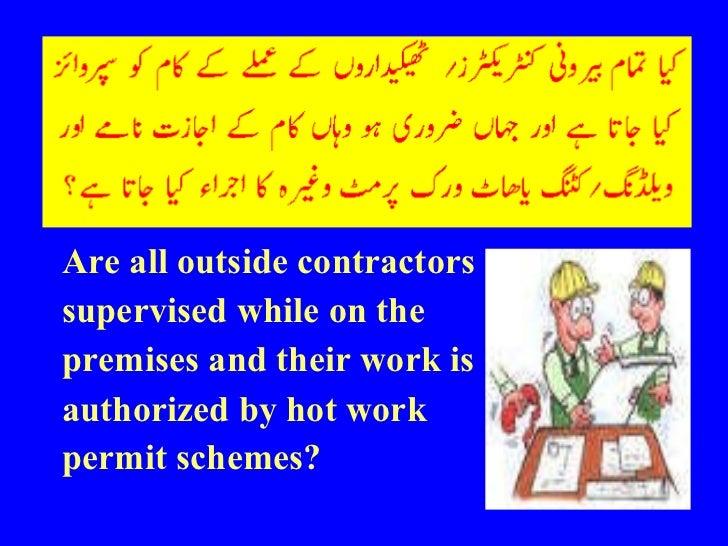 <ul><li>Are all outside contractors </li></ul><ul><li>supervised while on the </li></ul><ul><li>premises and their work is...