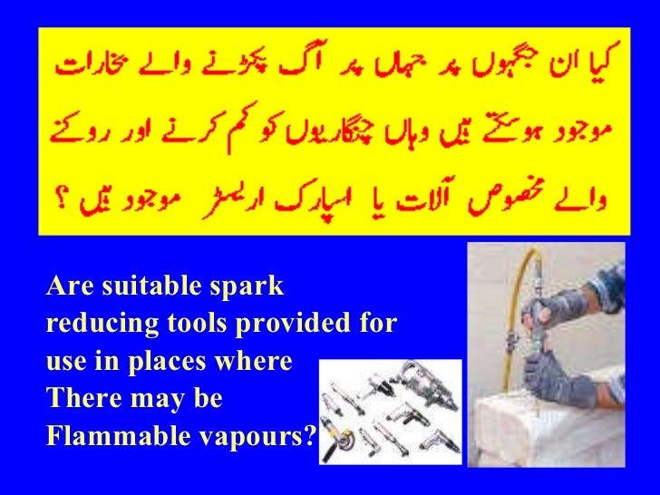 <ul><li>Are suitable spark </li></ul><ul><li>reducing tools provided for </li></ul><ul><li>use in places where  </li></ul>...