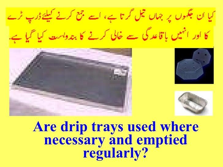 <ul><li>Are drip trays used where necessary and emptied regularly? </li></ul>