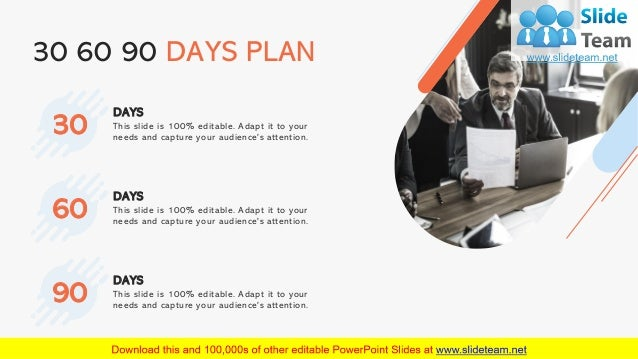 20 30 60 90 DAYS PLAN This slide is 100% editable. Adapt it to your needs and capture your audience's attention. DAYS 30 T...
