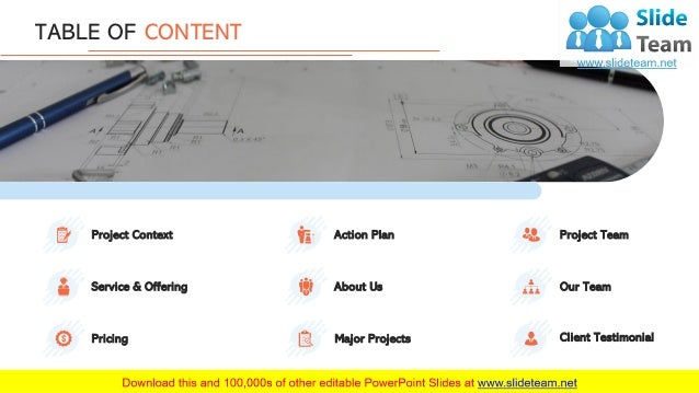 3 TABLE OF CONTENT Pricing Project Context Service & Offering Major Projects Action Plan About Us Client Testimonial Proje...