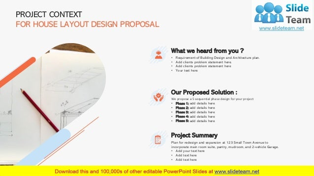 4 PROJECT CONTEXT FOR HOUSE LAYOUT DESIGN PROPOSAL What we heard from you ? • Requirement of Building Design and Architect...
