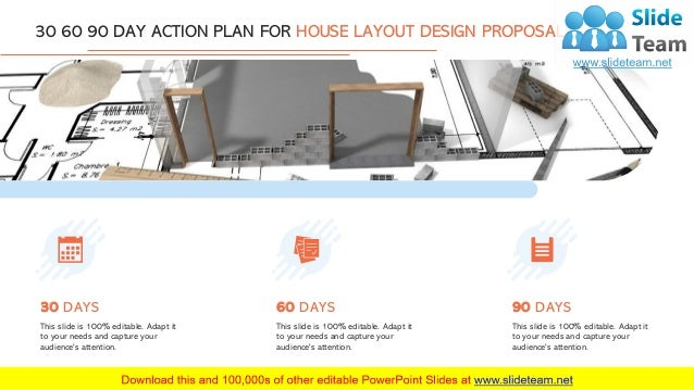 7 30 60 90 DAY ACTION PLAN FOR HOUSE LAYOUT DESIGN PROPOSAL This slide is 100% editable. Adapt it to your needs and captur...