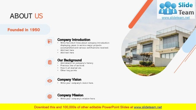 8 ABOUT US Founded in 1950 Company Introduction • Write few short lines about company introduction displaying years in ser...