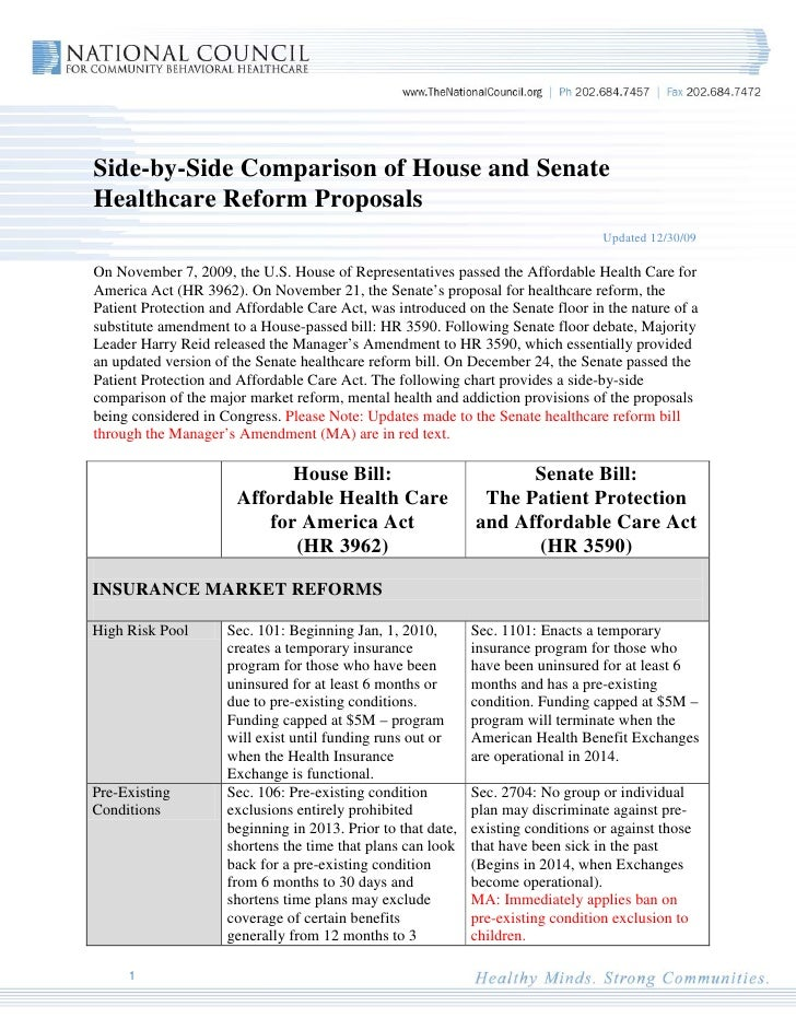 Side-by-Side Comparison of House and Senate Healthcare Reform Proposals                                                   ...