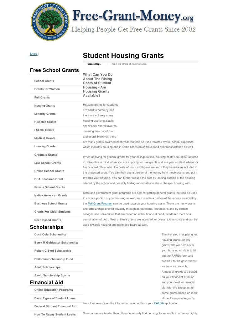 Share |                                    Student Housing Grants                                       Grants Dept.      ...
