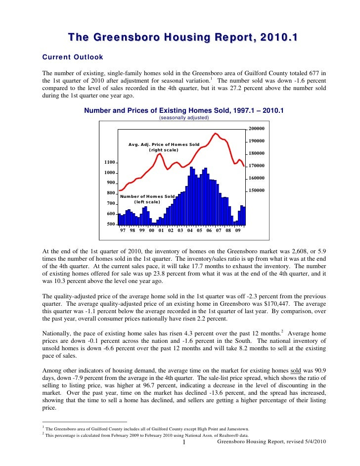 The Greensboro Housing Report, 2010.1                The Greensboro Housing Report, 2010.1 Current Outlook  The number of ...