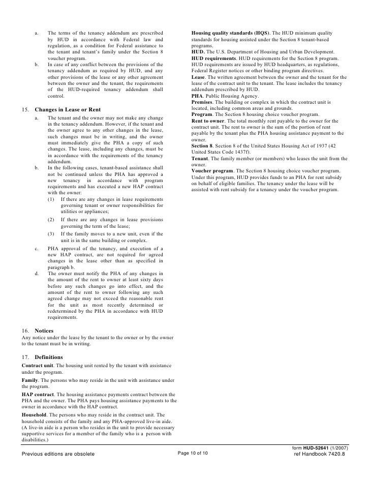 Housing assistance paymentscontractsection8 – Rental Assistance Form