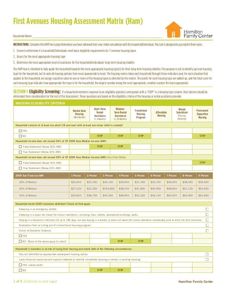 First Avenues Housing Assessment Matrix (Ham)Household Name: _____________________________________________________________...
