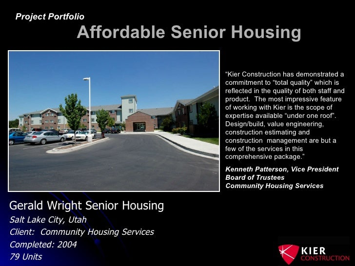 Affordable Senior Housing; 15. Gerald Wright .