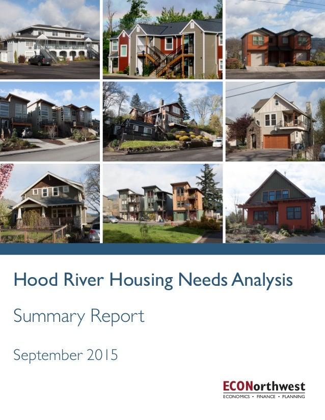 Hood River Housing Needs Analysis ECONorthwest Summary Report September 2015 December 2014