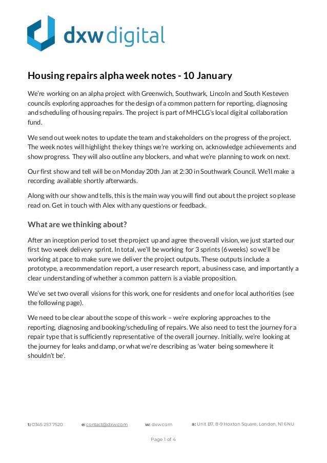 t: 0345 257 7520 e: contact@dxw.com w: dxw.com a: Unit B7, 8-9 Hoxton Square, London, N1 6NU Page 1 of 4 Housingrepairsalp...