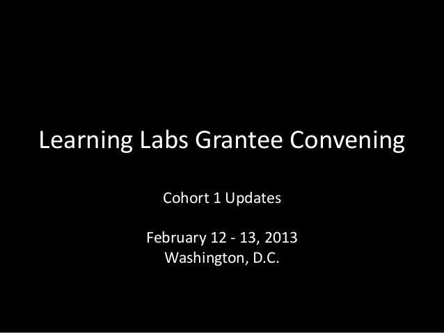 Learning Labs Grantee Convening           Cohort 1 Updates         February 12 - 13, 2013           Washington, D.C.
