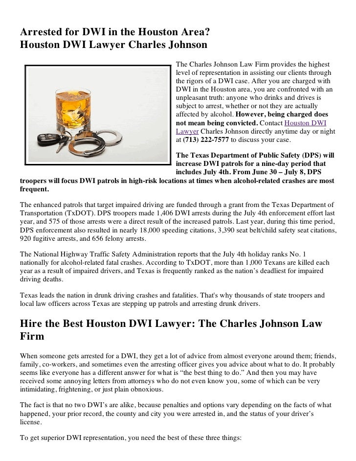 Arrested for DWI in the Houston Area?Houston DWI Lawyer Charles Johnson                                                   ...