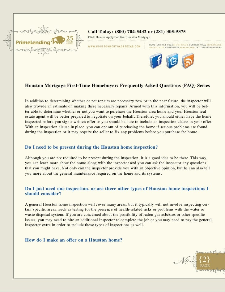 Houston mortgage first time homebuyer - frequently asked questions (faq) -  part 3