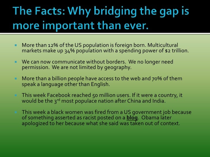 The Facts: Why bridging the gap is more important than ever. <br />More than 12% of the US population is foreign born. Mul...