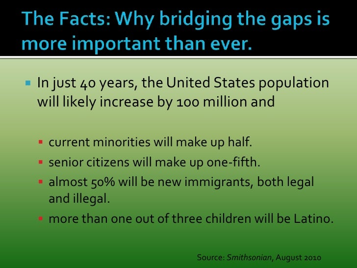 The Facts: Why bridging the gaps is more important than ever. <br />In just 40 years, the United States population will li...