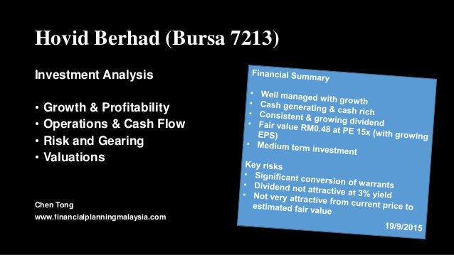 Hovid Berhad (Bursa 7213) Investment Analysis • Growth & Profitability • Operations & Cash Flow • Risk and Gearing • Valua...
