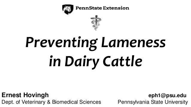 Ernest Hovingh eph1@psu.edu Dept. of Veterinary & Biomedical Sciences Pennsylvania State University Preventing Lameness in...