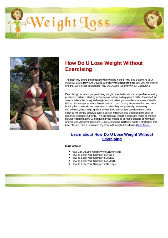 How Do U Lose Weight Without Exercising