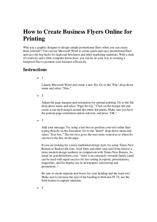 how to create business flyers online for printing