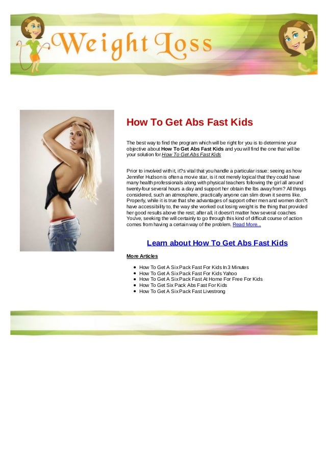 How To Get Abs Fast Kids