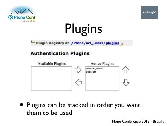 Plone Conference 2013 - Brasilia Plugins • Plugins can be stacked in order you want them to be used
