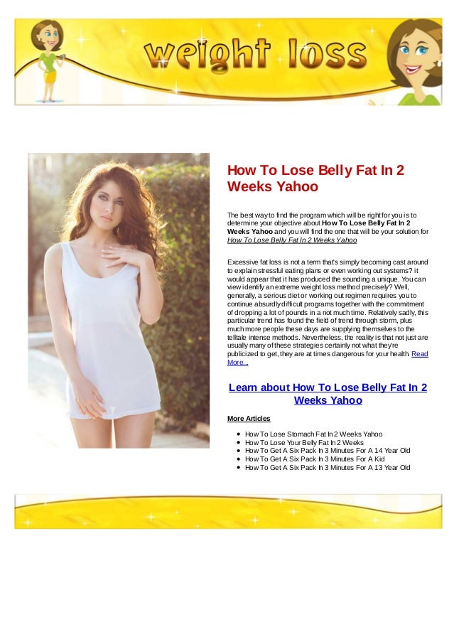 How do you lose belly fat yahoo