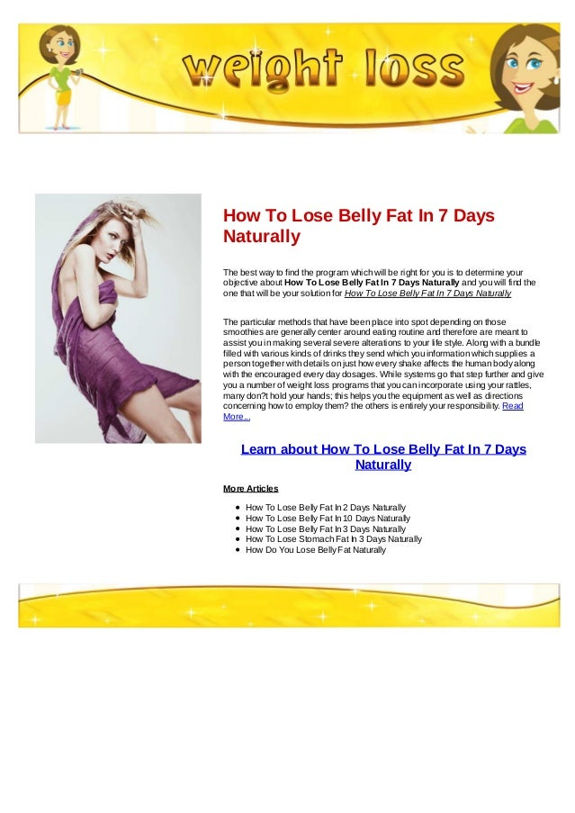 How To Lose Belly Fat In 7 Days Naturally
