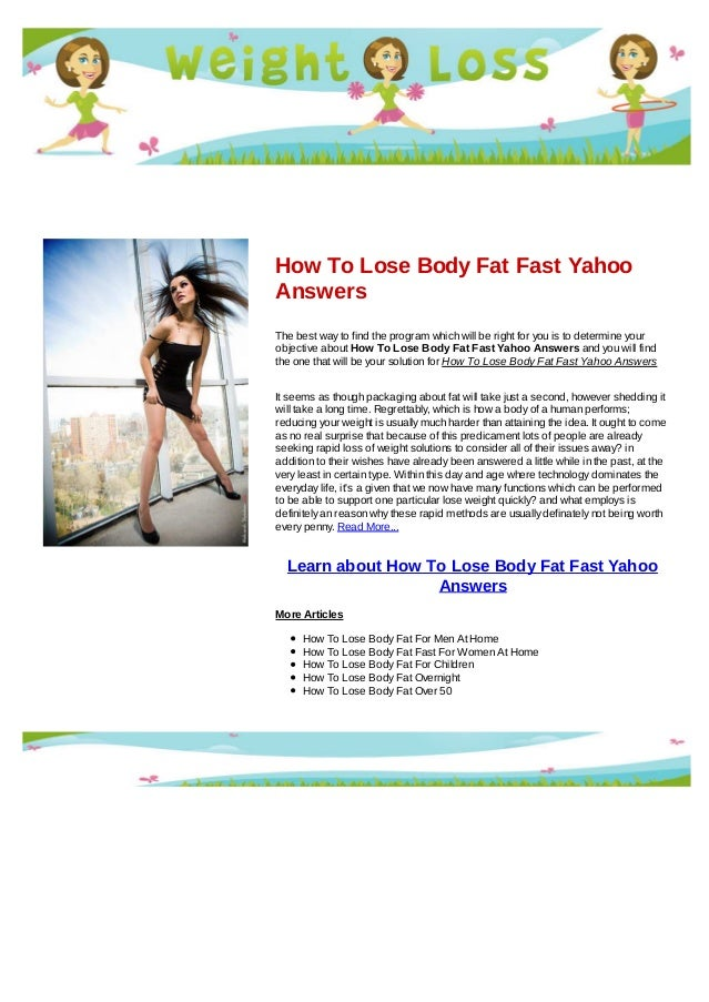 best way to lose body fat yahoo answers