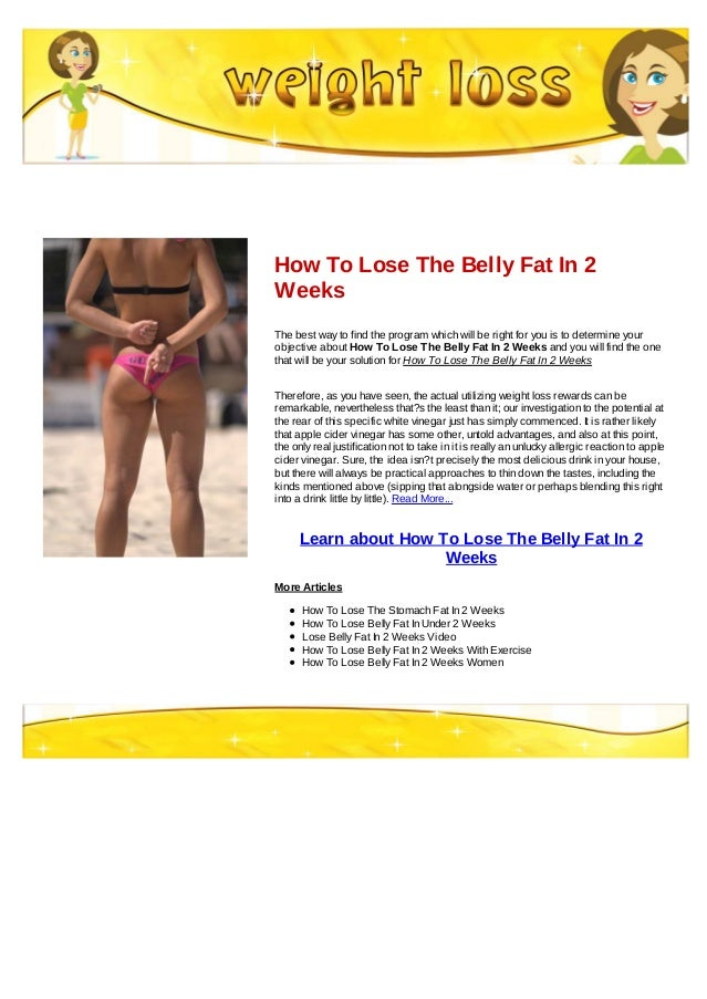 Ways to lose belly fat in two weeks